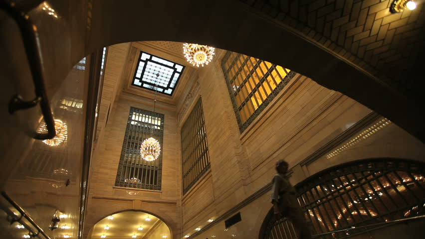 New York - Circa 2009: Grand Central Station in 2009. People walking in Grand Central station looking up towards the ceiling in New York City, New York.