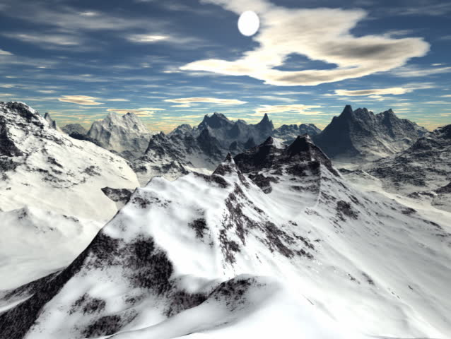 Computer-generated animated loop depicting a 360? view from a mountain summit
