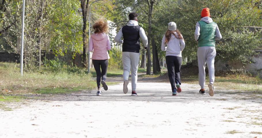 People jogging in park