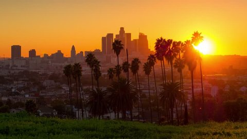 Scenic sunset to night transition city of Los Angeles downtown skyline palm trees in foreground. 4K UHD timelapse.