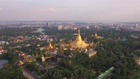 Shwedagon Pagoda aerial view in Yangon, Myanmar (Burma). Shwedagon is the most sacred Buddhist pagoda in Myanmar.