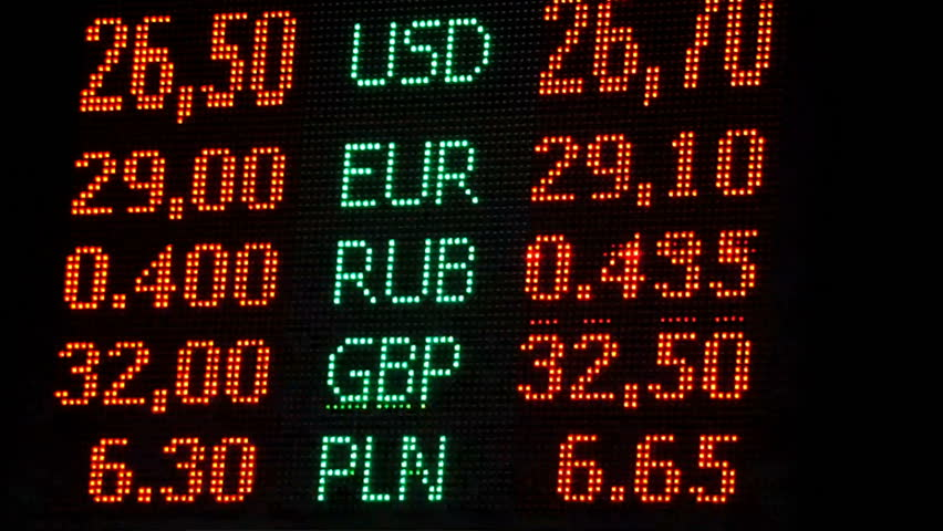 Currency Exchange Rates Display Board In Airport Or Ping Mall Foreign Money