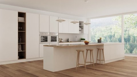 Scandinavian white kitchen, interior walk through, steady cam, minimalistic design, 3d illustration