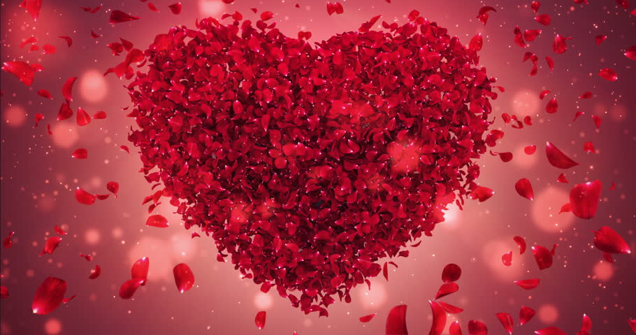 Romantic flying red rose flower petals love heart wedding background. For St. Valentines Day, Mother's Day, wedding anniversary greeting cards, wedding invitation or birthday e-card. Seamless loop 4k | Shutterstock HD Video #23244568