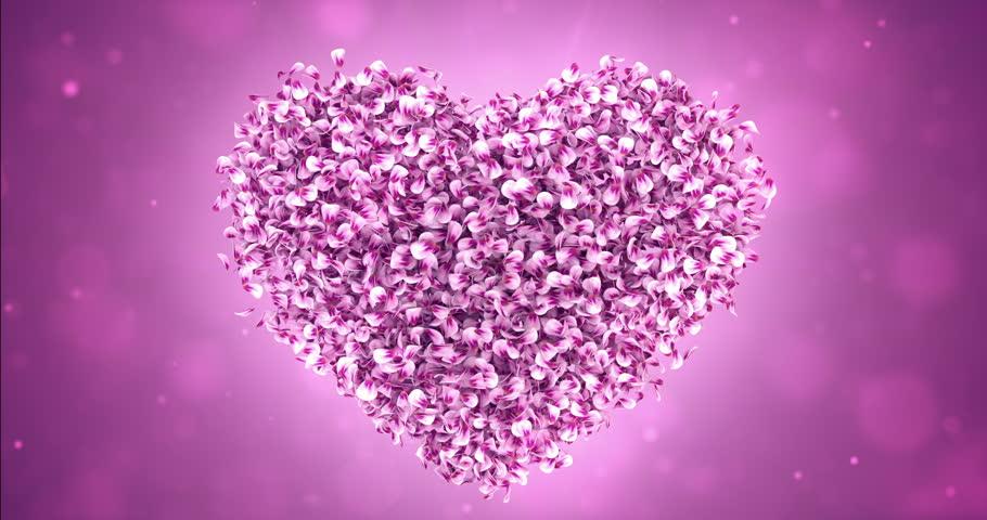 Romantic flying pink rose sakura flower petals lovely heart rotating flying pink rose sakura flower petals lovely heart backdrop for st valentines day stopboris Gallery