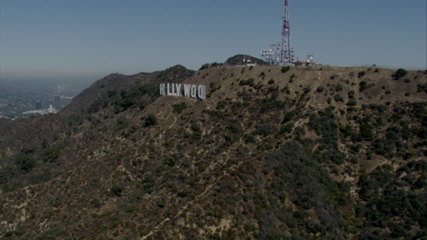 Los Angeles - Circa 2009: The Hollywood sign in 2009. Aerial flying shot of Mount Hollywood and the Hollywood sign in Los Angeles, California. | Shutterstock HD Video #2325245
