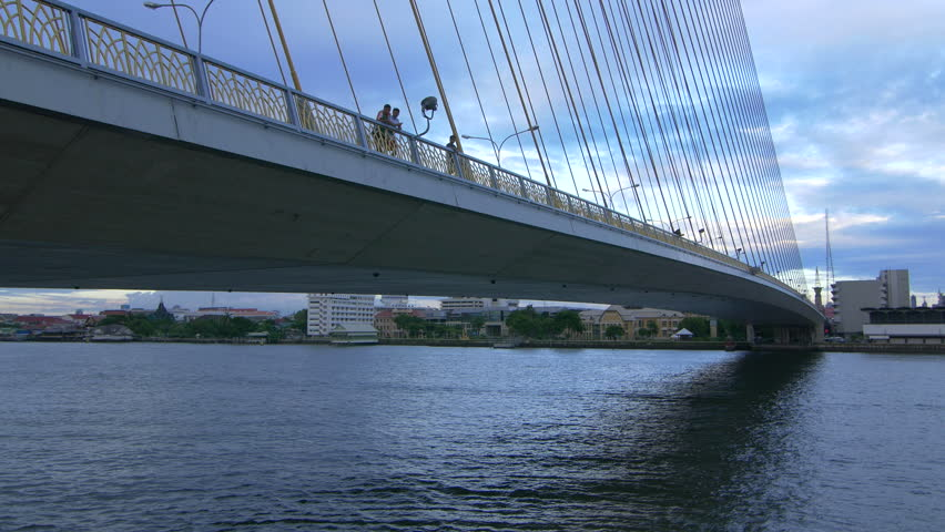 Aerial view on traffic on the cable-stayed bridge Rama VIII through the Chao Phraya River, Bangkok, Thailand #23275255