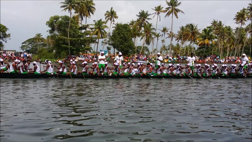 Alappuzha, INDIA - AUG 13:A snake boat team participates in Nehru Trophy Boat race on August 13, 2016 Alleppey, Kerala, India in is very popular and competitive race event