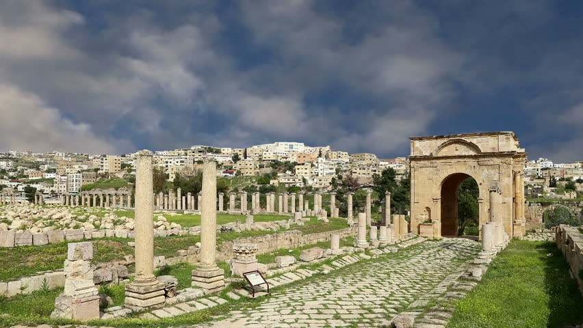 Roman ruins in the Jordanian city of Jerash (Gerasa of Antiquity), capital and largest city of Jerash Governorate, Jordan  | Shutterstock HD Video #23293825