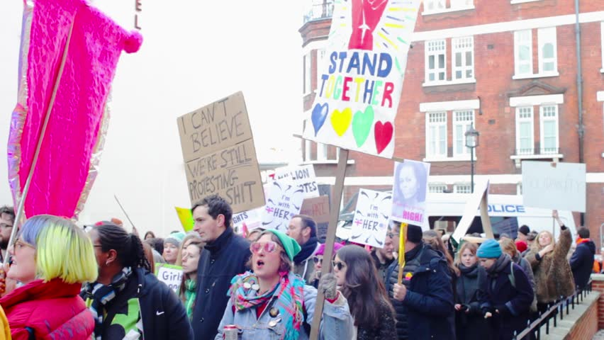 LONDON, UK - 21/01/2017: Women's March on London, a protest through central London. Marches took place in cities around the world to protest the inauguration of the president of the Usa Donald Trump.