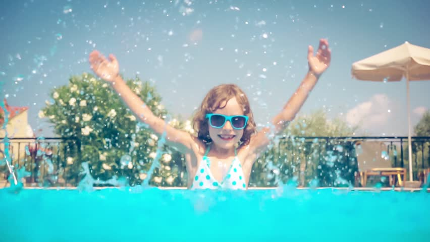 Happy child having fun in swimming pool summer vacations - Swimming pool girl christmas vacation ...