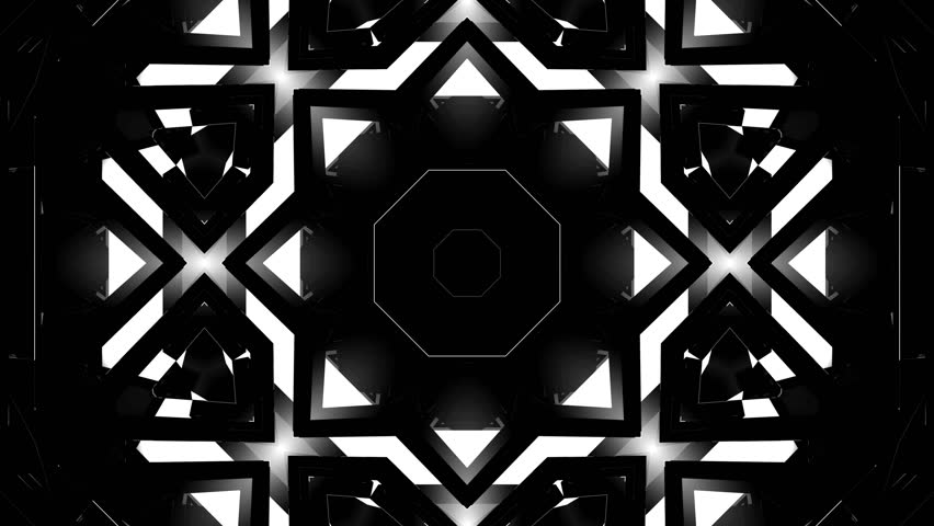 4K Abstract Black and White 3D Shape VJ Animation