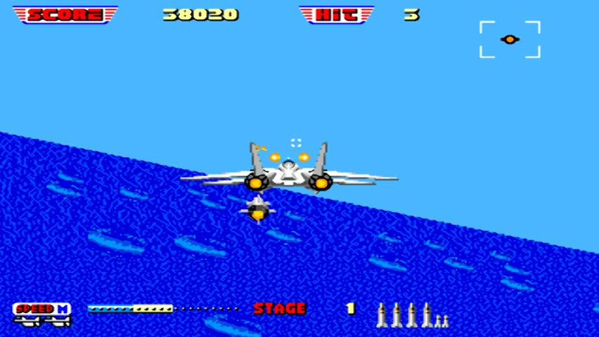 URYUPINSK. RUSSIA - JANUARY 22, 2017: Gameplay game console Sega Genesis after burner 2 - retro console games on January 22 2017 in Urupinsk, Russia