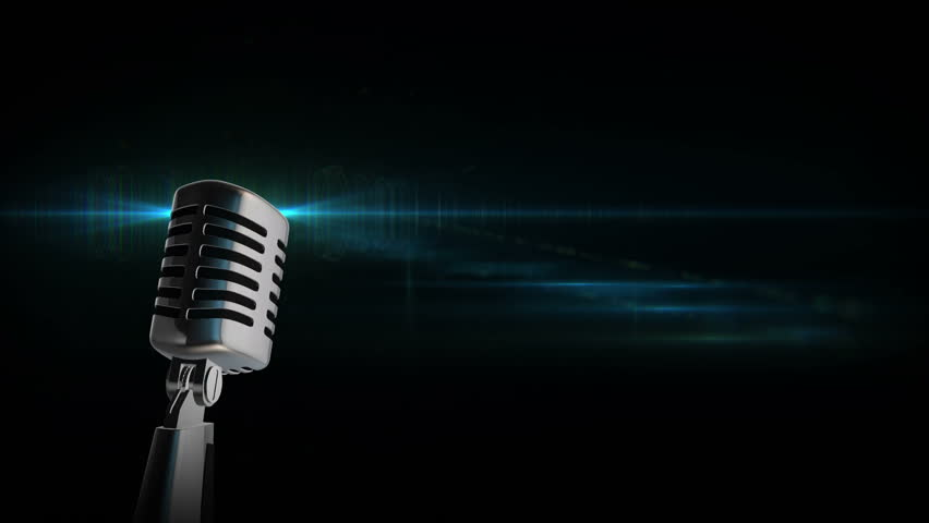 Retro microphone Vintage silver microphone slowly rotating on blue shiny flickering black background