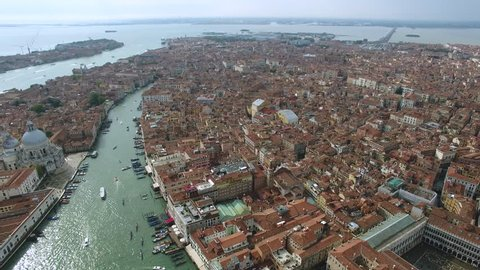 Aerial of Venice harbor and marina revealing the channels and boats