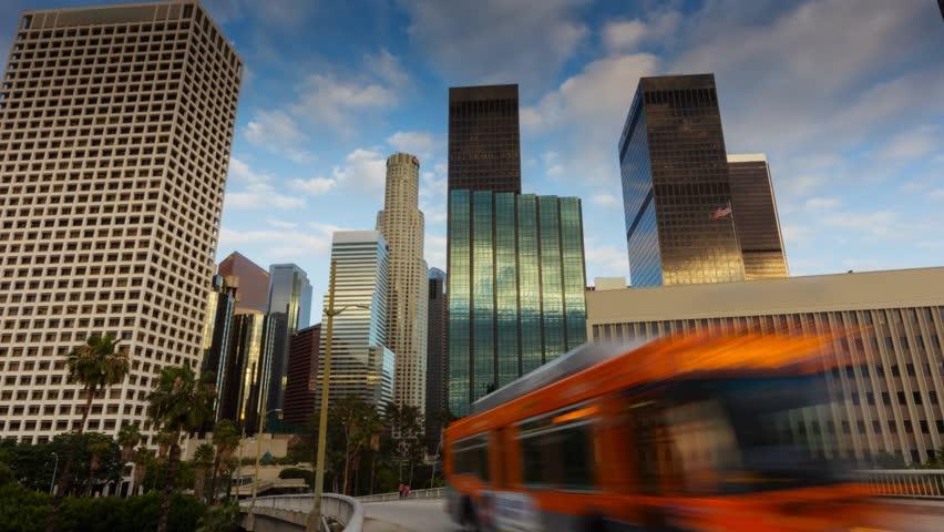 Downtown Los Angeles city. Motion timelapse hyperlapse.