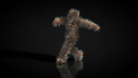 Animation of a hairy character dancing