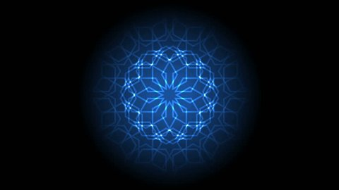 Abstract light background. Animation of glowing laser geometric islamic pattern
