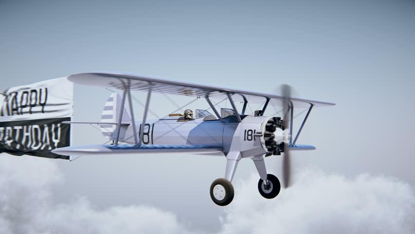 "Airplane with Banner ""Happy birthday"" 4k UHD high-resolution 3D rendering. 4K. Chroma key."