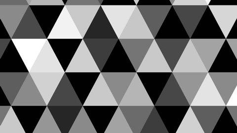 Geometric abstract greyscale background animation. HD motion design triangle explotion.