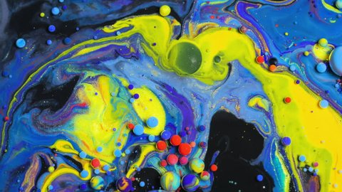 Bright Collors Beautiful Bubbles Universe Of Color Moving Surface Macro Paint Oil Red Blue Black And Yellow Multicolored Slow Motion