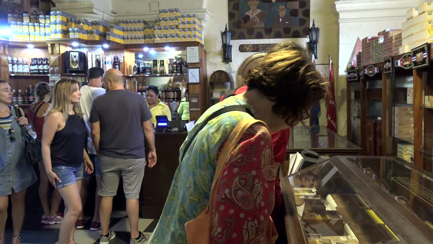 Tourists in the Cuban cigar store (Casa del Tabaco) at the Partagas factory. November 01, 2016 in Havana, Cuba