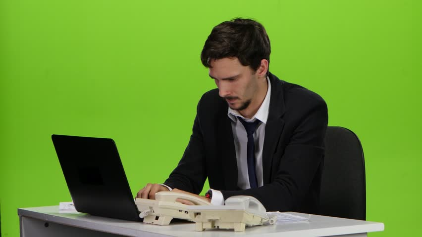 Boss man irritated respond to several phone calls. Green screen | Shutterstock HD Video #23481925