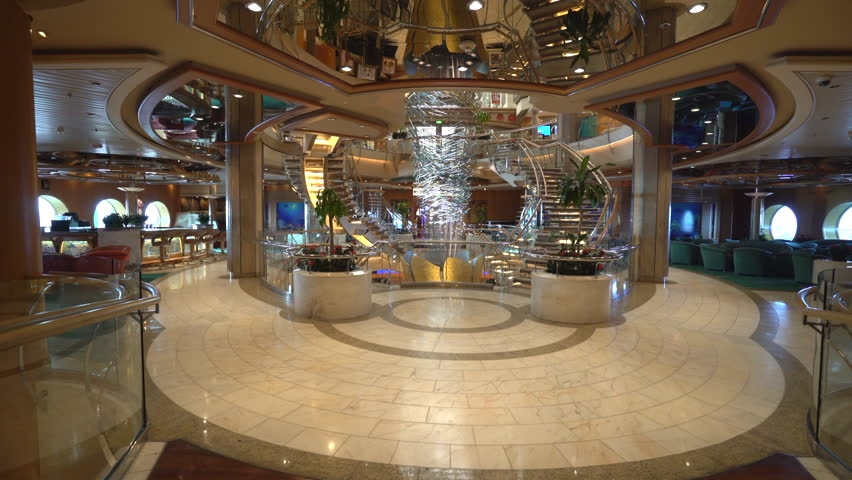 Cruise ship luxury interior. Atrium hall and promenade - October 2016. Adventure of the Seas, Royal Caribbean | Shutterstock HD Video #23483785