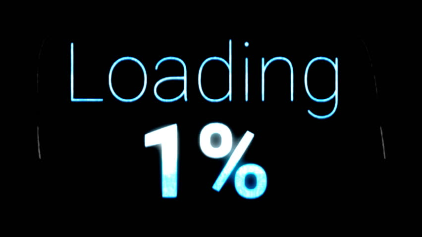 A loading text with an increasing progress number (percent). Corrupt screen, digital glitches. Use: fake mock video buffering, simulate Android / iPhone / YouTube apps.