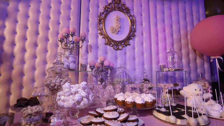 Interior of a wedding hall decoration ready for guestsautiful candy bar design of the restaurant candy bar in the restaurant a childrens party junglespirit Gallery