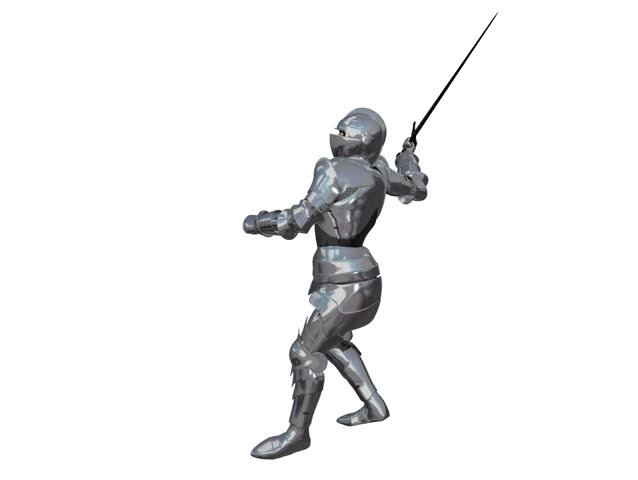 Looping 4 second animation of an armour clad knight swinging a sword.