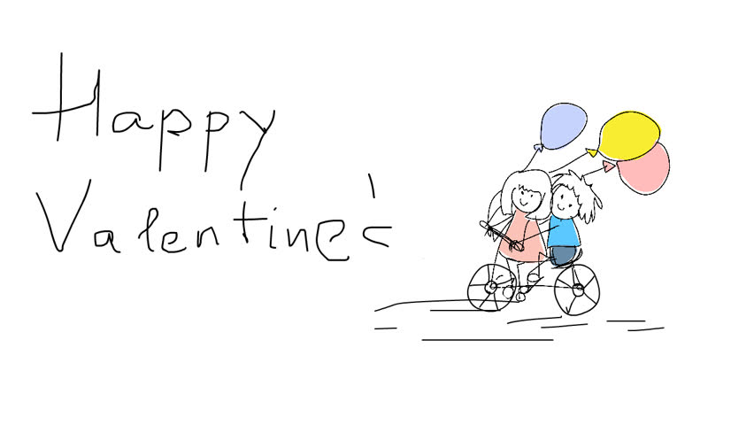 Valentine Childish Drawing Greeting Card Stock Footage Video 100