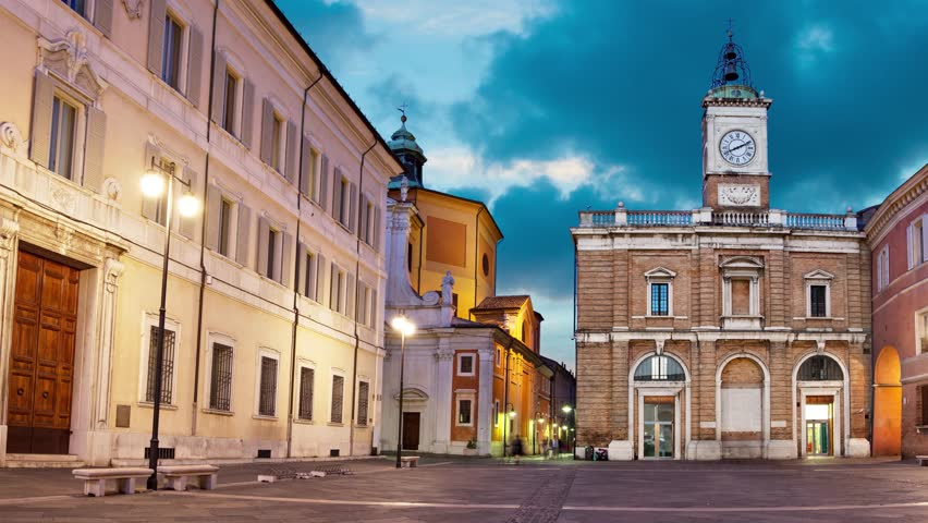 Piazza del Popolo in the evening, Ravenna (panoramic view with animated time-lapse sky)