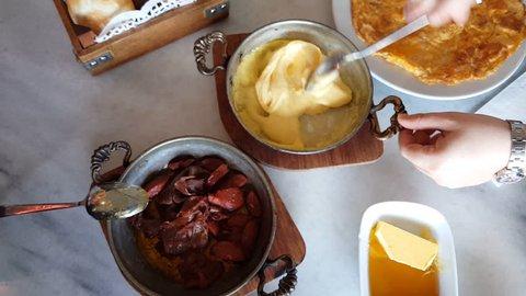 Turkish breakfast table steadicam record, kuymak, pastirma, muhlama and any others