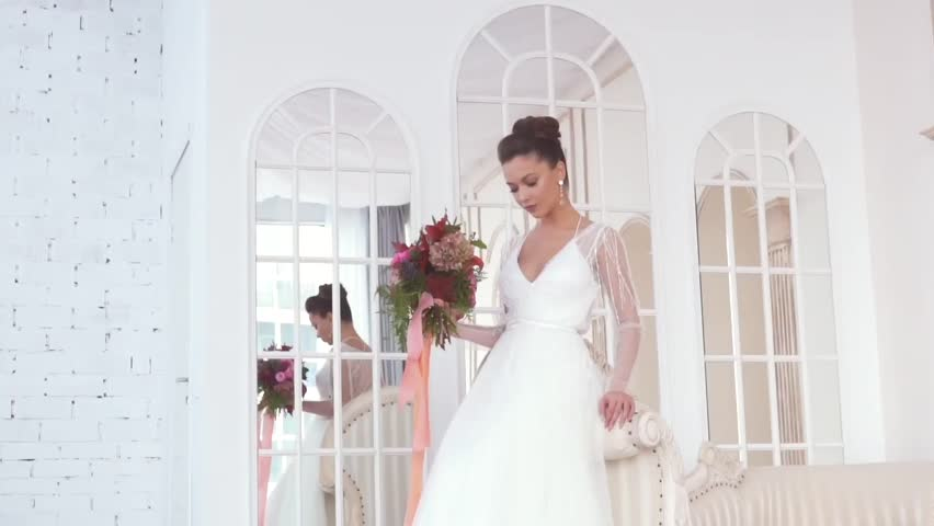 Young Attractive Bride In White Beautiful With Flowers Wedding Concept Slow Motion