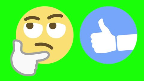 Two custom looping animated social media emoticons illustrating the skeptical and thumbs up emotions.