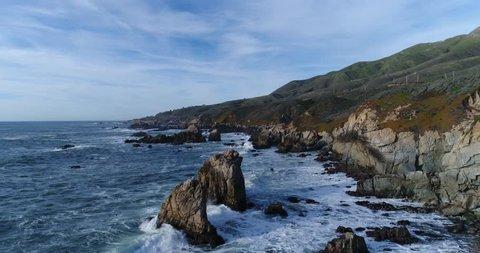 Aerial view of Pacific coast near Big Sur, California.