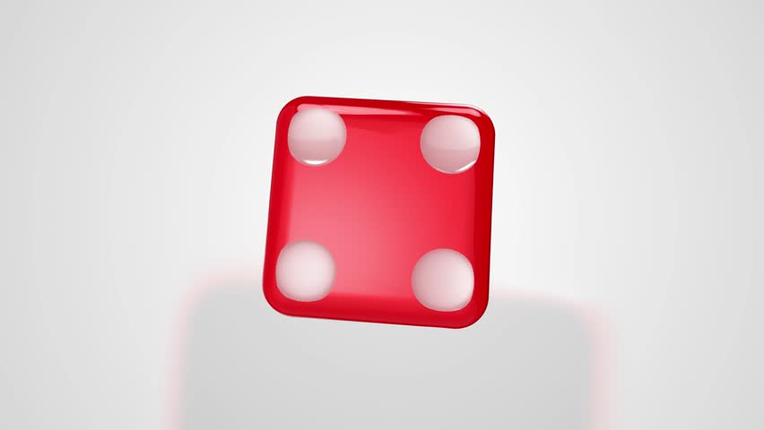 Rolling Red Dice Ends at Four 3D Animation with Alpha