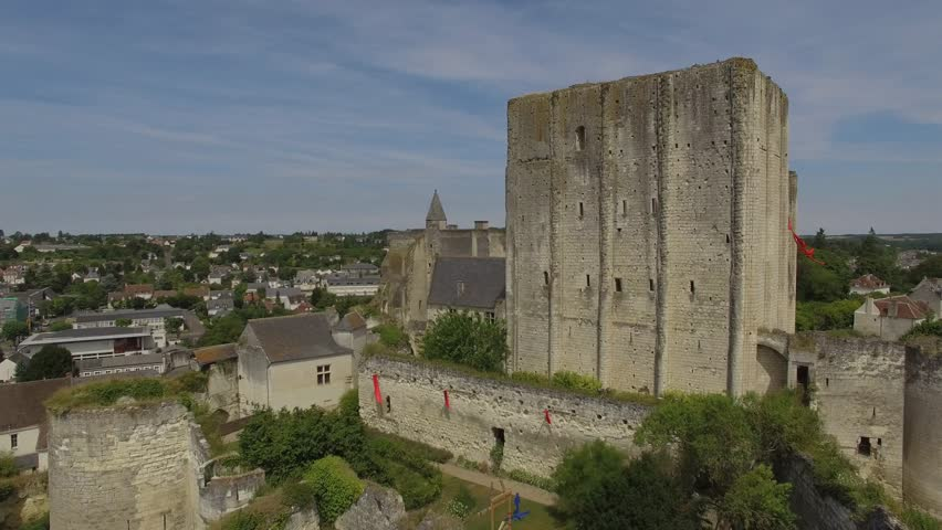 LOCHES, ROYAL CITY, VIEW BY DRONE Aerial view by drone of Loches, Royal City, Center Loire Valley, Loire Valley, Loches, Indre et Loire, France