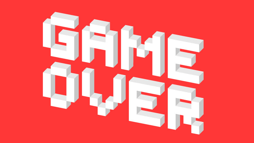 Game over pixel art 3d style animation sign. Retro videogame ending screen. HD motion graphics.