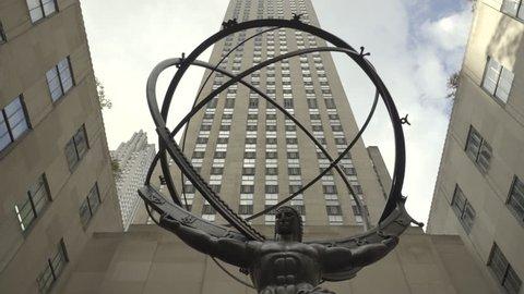 Atlas Statue at Rockefeller Center, slider shot - October 2016. Manhattan, New York City, United States