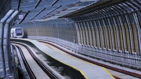 KUALA LUMPUR, MALAYSIA - DECEMBER 25, 2016 : Malaysia MRT (Mass Rapid Transit) train, a transportation for future generation.