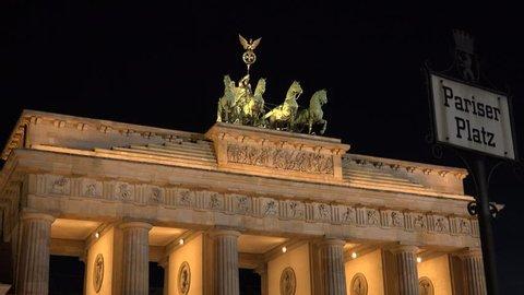 4K Famous landmark Brandenburg Gate in Berlin, ancient monument heritage by night