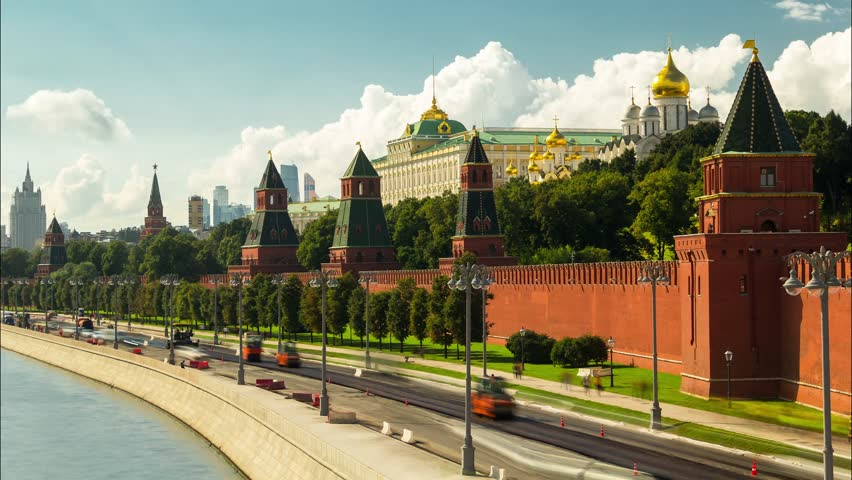 sunny summer day moscow river bay kremlin panorama 4k time lapse russia