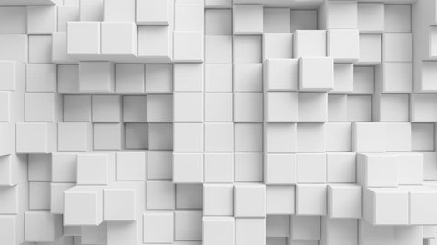 Beautiful Abstract Cubes Looped 3d Animation. White Wall Moving. Seamless Background in 4k 3840x2160 Ultra HD.