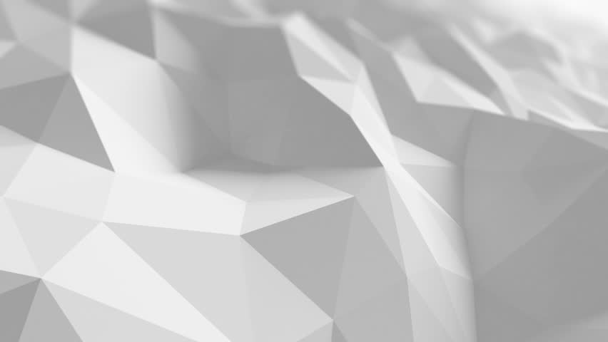 white low poly surface waving in abstract 3d animation. seamless