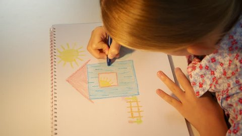 Child Drawing House, Girl Coloring, Kids Making Craft, Children Education