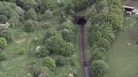 Steam Train On East Lancs Railway, Going Into Tunnel