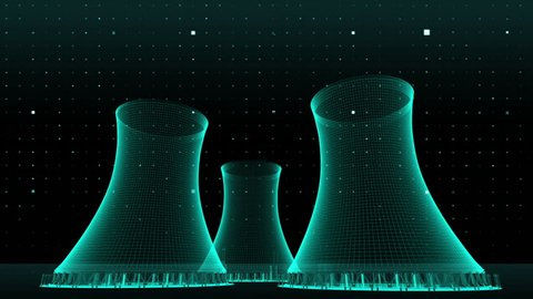 Cooling tower of nuclear power plant, thermal power plant, x-ray view image.