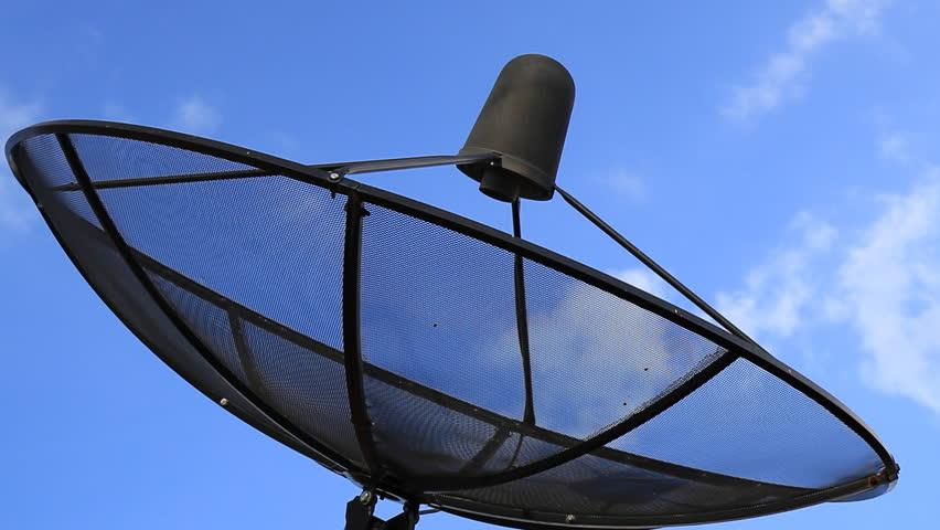 Black Antenna Communication Satellite Dish Over Sky In